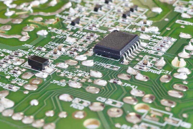 Geïntegreerd elektronisch - schakelschema macrodetail Technologiebackgro stock afbeelding