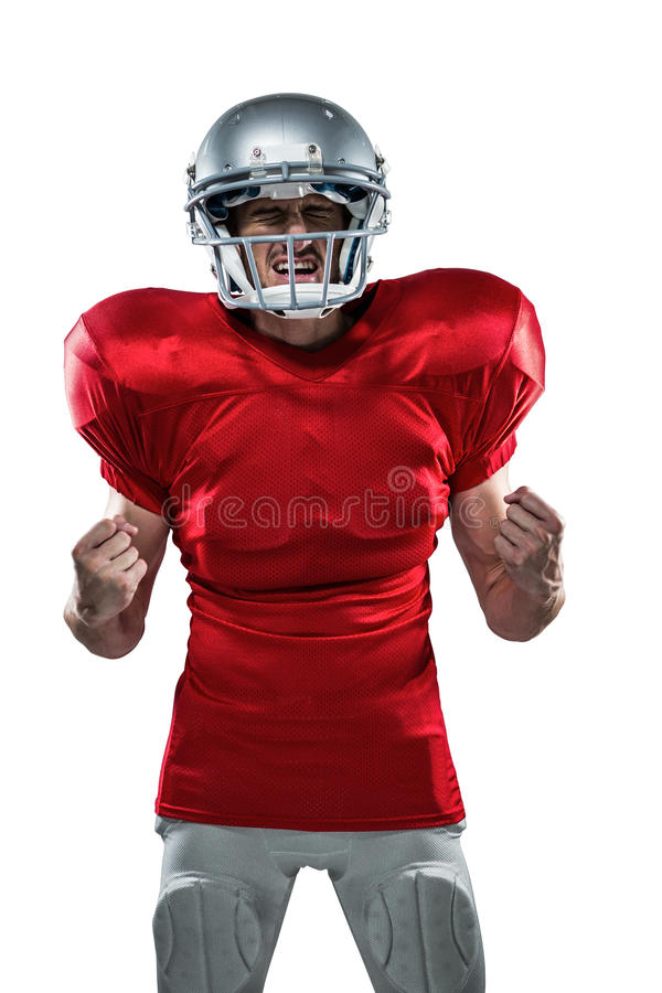 Geïrriteerde Amerikaanse voetbalster in het rode gillen van Jersey stock afbeeldingen