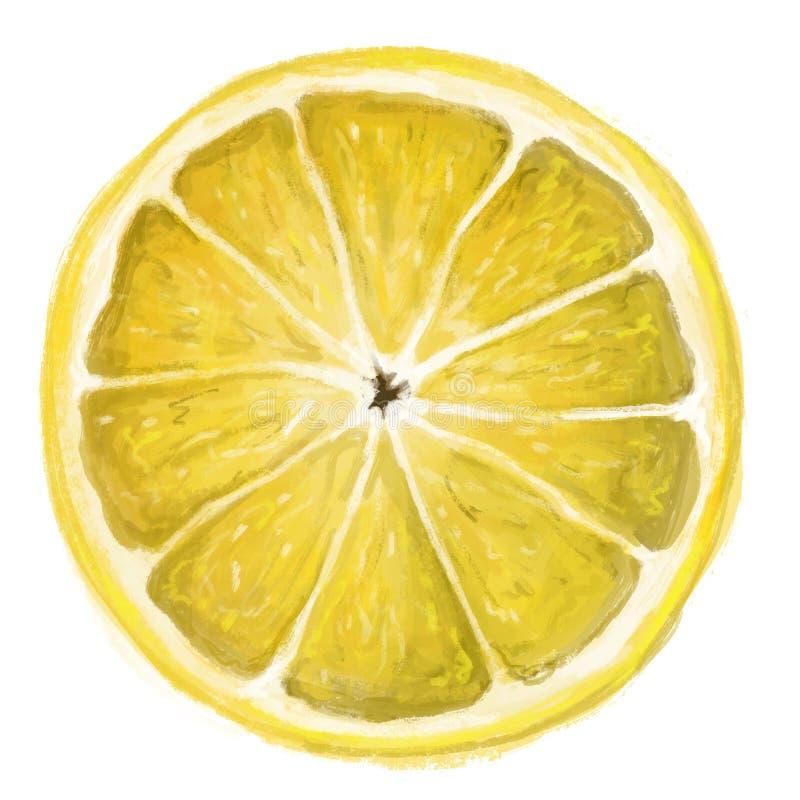 Geïsoleerd één plak van citroen royalty-vrije illustratie