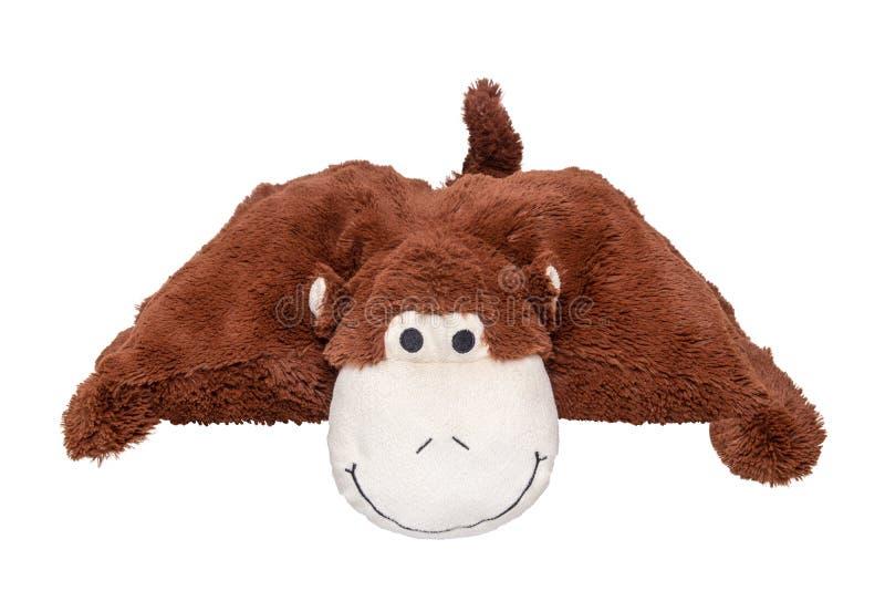 Geïsoleerd aapstuk speelgoed Leuke en vriendschappelijke bruine stuk speelgoed aap met gelukkige die glimlach op een witte achter stock afbeeldingen