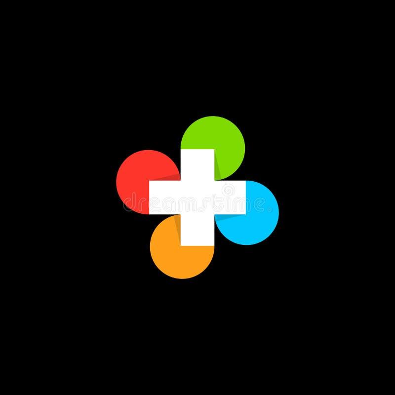 Geïsoleerd abstract kleurrijk dwars rond medisch embleem godsdienstig teken Het embleem van het artsens bureau Ziekenwagenetiket  vector illustratie