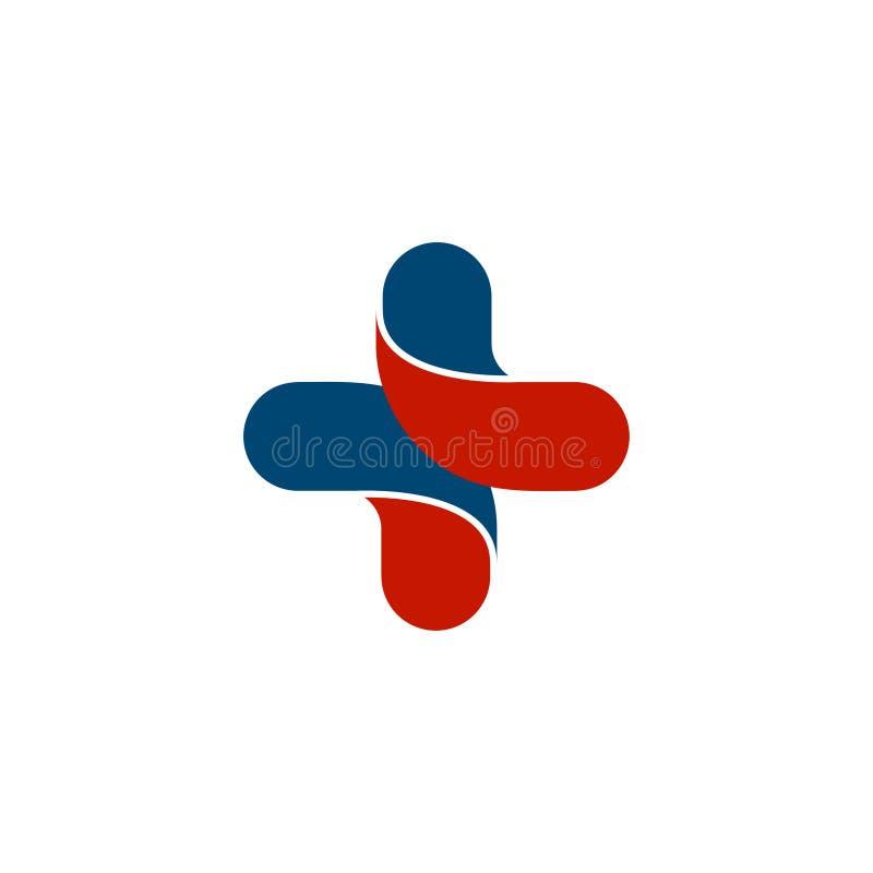 Geïsoleerd abstract kleurrijk dwarsembleem Menselijk silhouet logotype stock illustratie