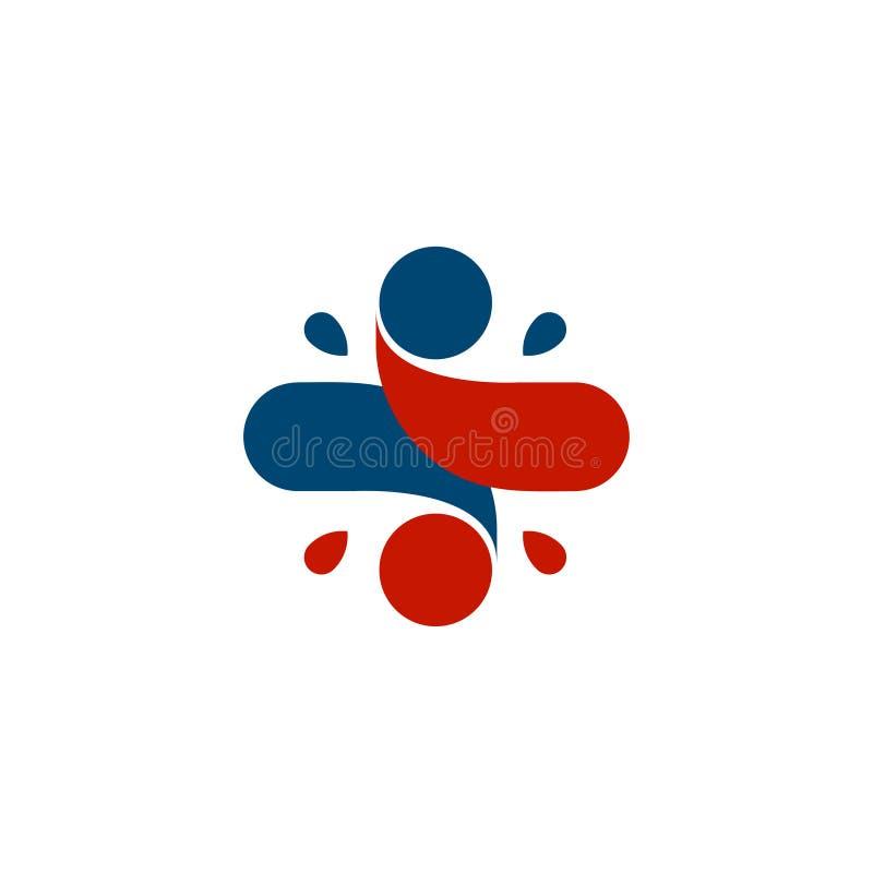 Geïsoleerd abstract kleurrijk dwarsembleem Menselijk silhouet logotype Medisch pictogram godsdienstig teken Gezondheidszorgsymboo royalty-vrije illustratie