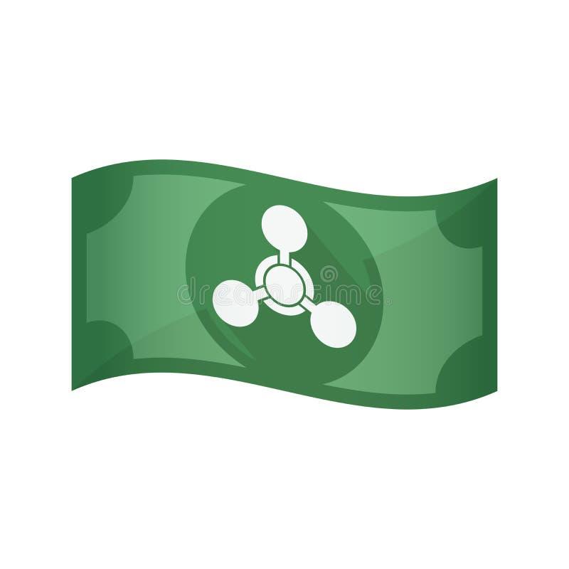 Geïsoleerd bankbiljet met een chemisch wapenteken royalty-vrije illustratie