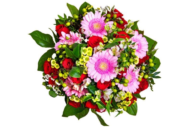 Geïsoleerd bloemboeket Boeket van mooie verse bloemen hoogste die mening op een witte achtergrond wordt geïsoleerd Het ontwerp va stock foto's
