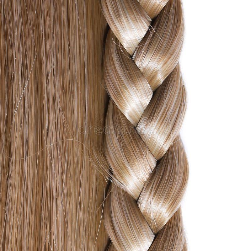 Geïsoleerd blonde Rechte Haar en Vlecht of Vlecht royalty-vrije stock afbeelding