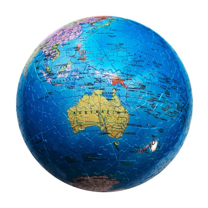 Geïsoleerd bolraadsel Kaart van Australië en Oceanië stock afbeeldingen