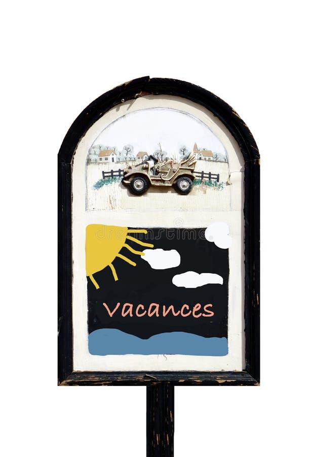 Geïsoleerd Bord VACANCES (het Frans voor vakantie) royalty-vrije stock foto