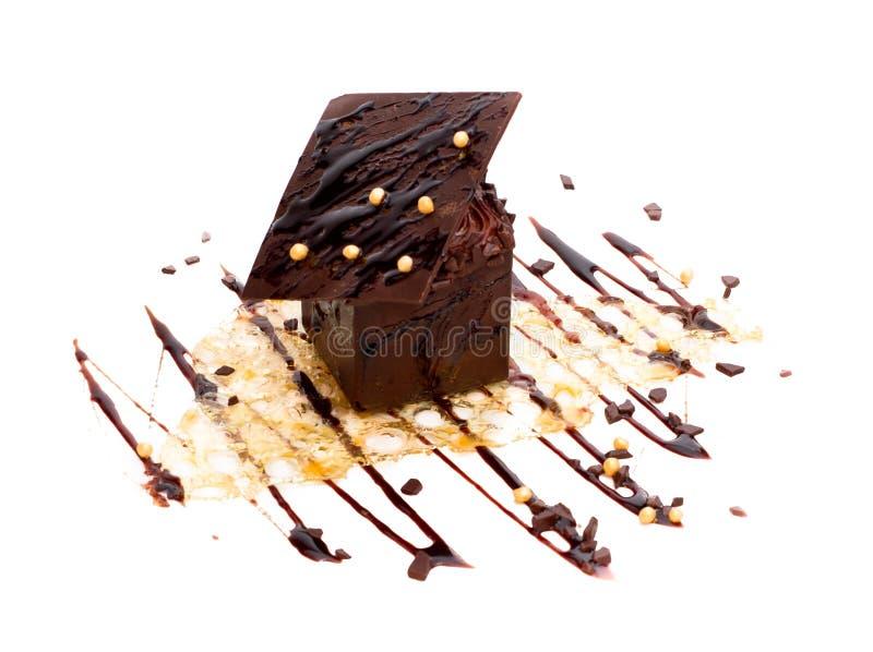 geïsoleerd buitensporig chocoladedessert stock afbeeldingen