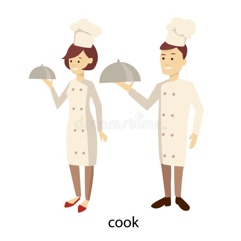 Geïsoleerd chef-kokpaar vector illustratie