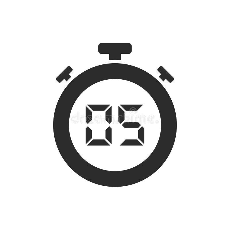 Geïsoleerd chronometerpictogram met vijf seconden royalty-vrije illustratie