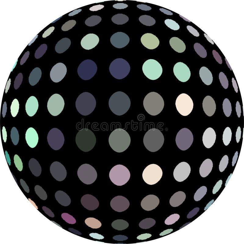 Geïsoleerd de bal 3d grafisch van de flikkeringsdisco De punten van het spiegelmozaïek Feestelijke partijsimbol royalty-vrije illustratie