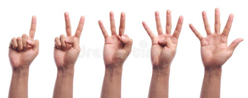 Geïsoleerd de handgebaar van de één tot vijf vingerstelling stock foto