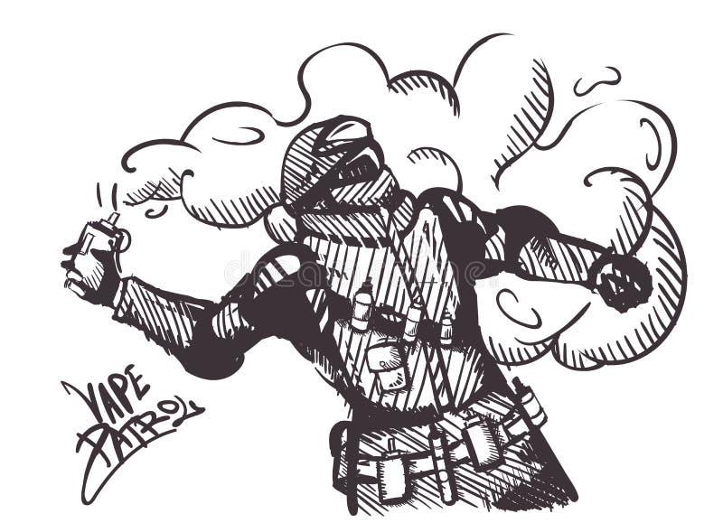 Geïsoleerd de patrouilleetiket van embleemvape E-sigaret, Speciale krachten met een elektronische sigaret in plaats van rookgrana royalty-vrije illustratie