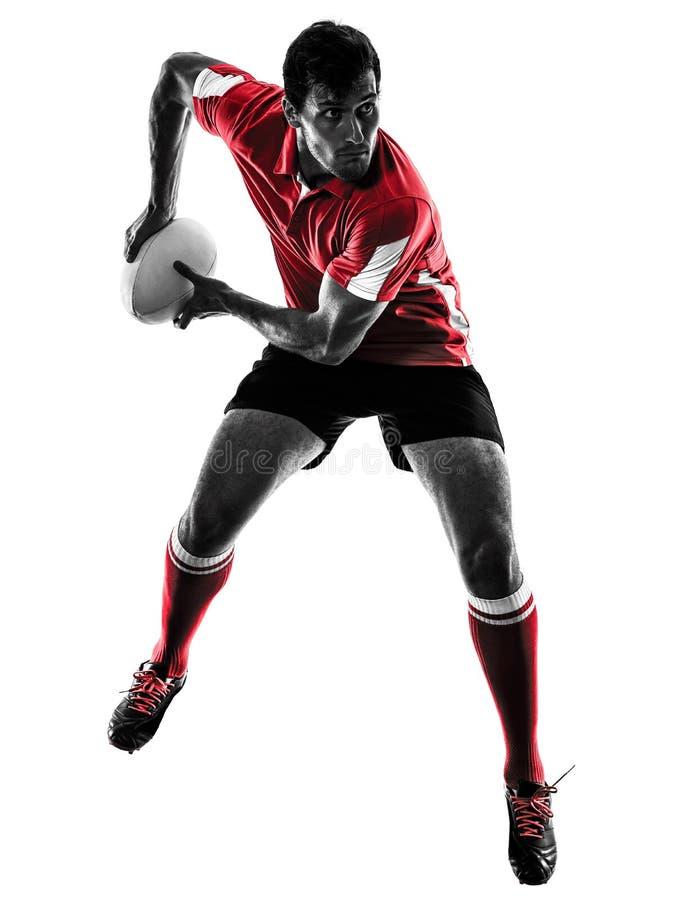 Geïsoleerd de spelersilhouet van de rugbymens stock foto