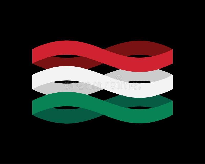 Geïsoleerd de Vlaglint van Hongarije Hongaarse symbool nationale band ST royalty-vrije illustratie
