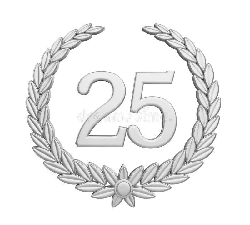 Geïsoleerd de Zilveren bruiloftconcept van Laurel Wreath vijfentwintigste Verjaardag stock illustratie