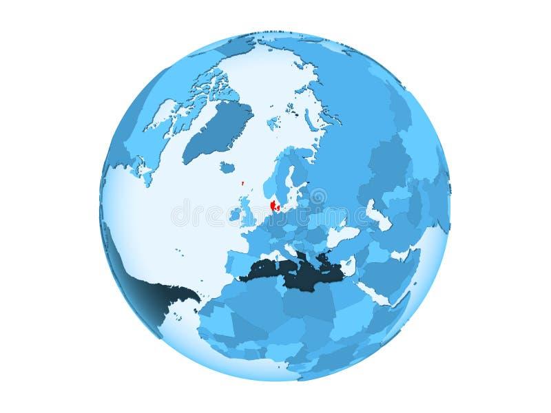 Geïsoleerd Denemarken op blauwe bol royalty-vrije illustratie