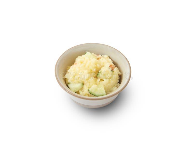 Geïsoleerd en het knippen weg van Japanse Aardappelsalade stock afbeelding