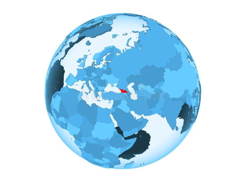 Geïsoleerd Georgië op blauwe bol royalty-vrije illustratie