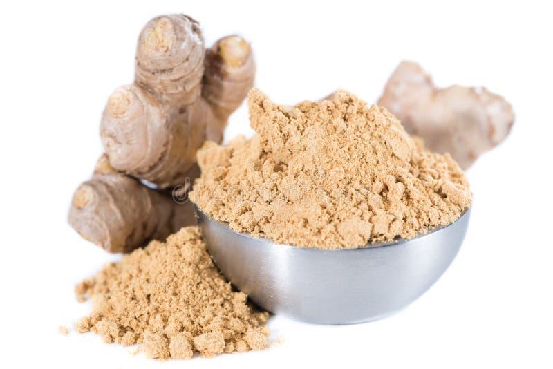 Geïsoleerd Ginger Powder stock foto