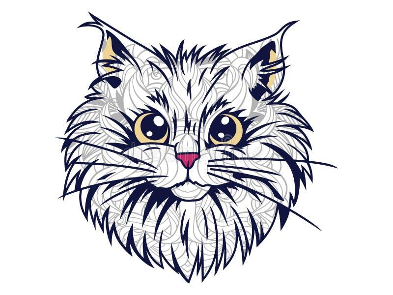 geïsoleerd grappig kattenhoofd in witte achtergrondhand getrokken kattenkrabbel voor de volwassen kleurende pagina van de spannin stock illustratie