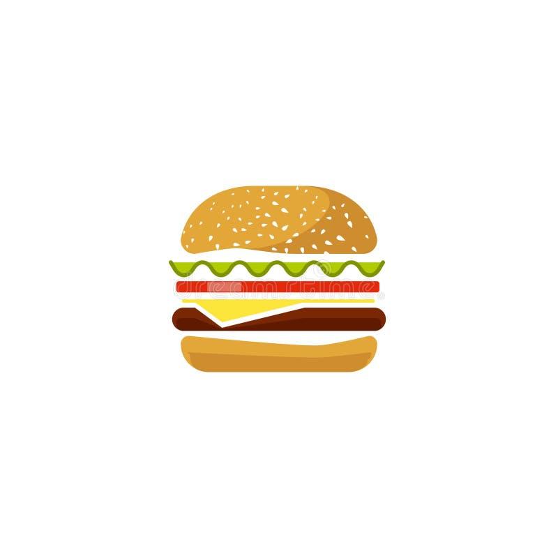 Geïsoleerd hamburger vectorpictogram, vlakke beeldverhaalsandwich logotype clipart, hamburgersymbool stock illustratie