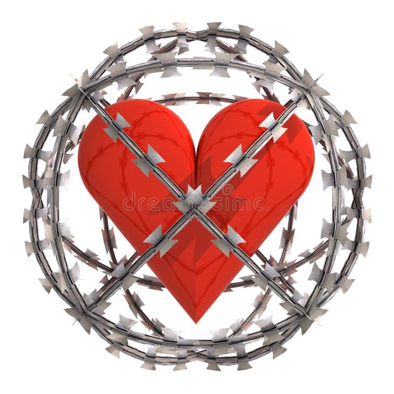 Geïsoleerd hart in prikkeldraadgebied royalty-vrije illustratie