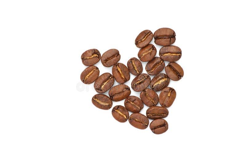 Geïsoleerd hart van de koffiebonen stock afbeelding
