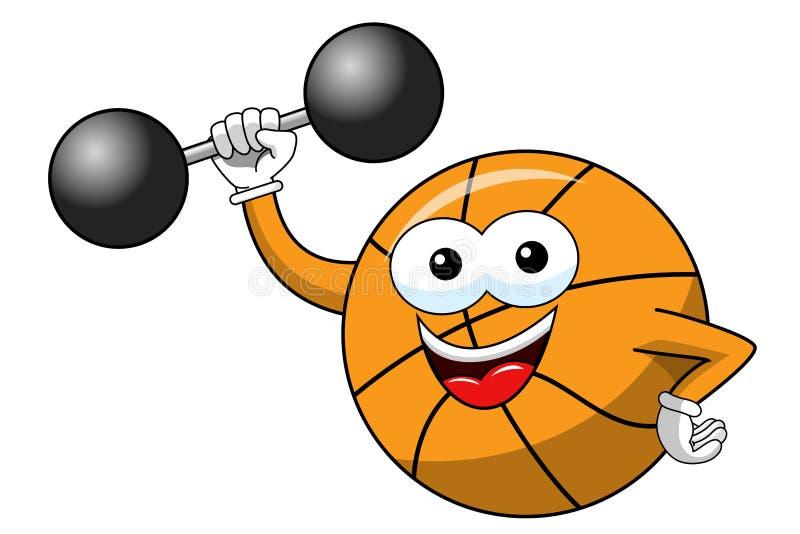 Geïsoleerd het beeldverhaal grappig karakter van de basketbalbal weightlifter stock illustratie
