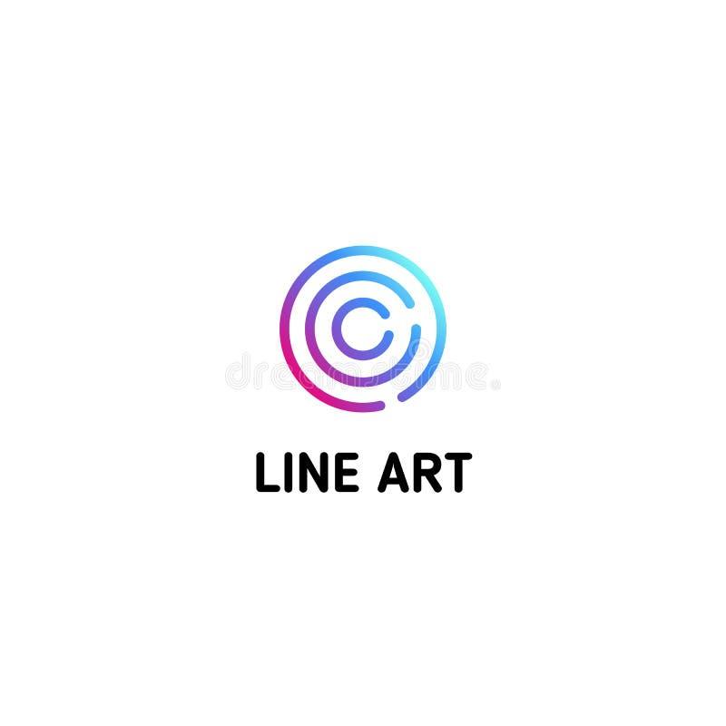 Geïsoleerd het embleemmalplaatje van de gestippelde lijnkunst Abstracte lineaire logotype Kleurrijk geometrisch pictogram Het ove vector illustratie