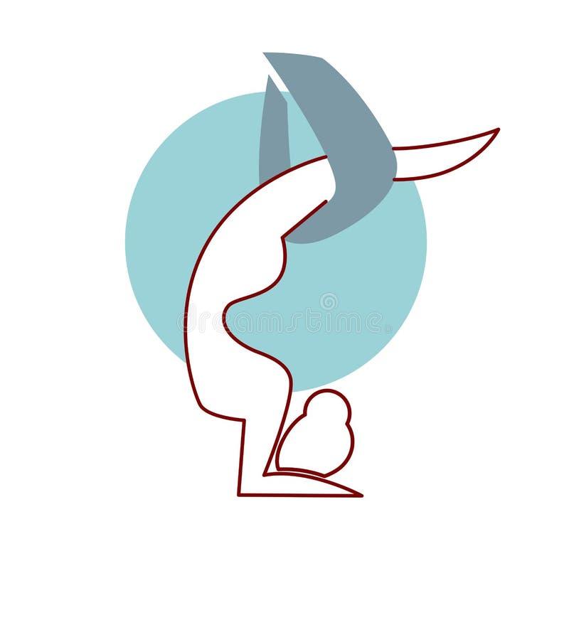 Geïsoleerd het embleemontwerp van de vliegyoga Hals over kop luchtgymnastiek royalty-vrije illustratie