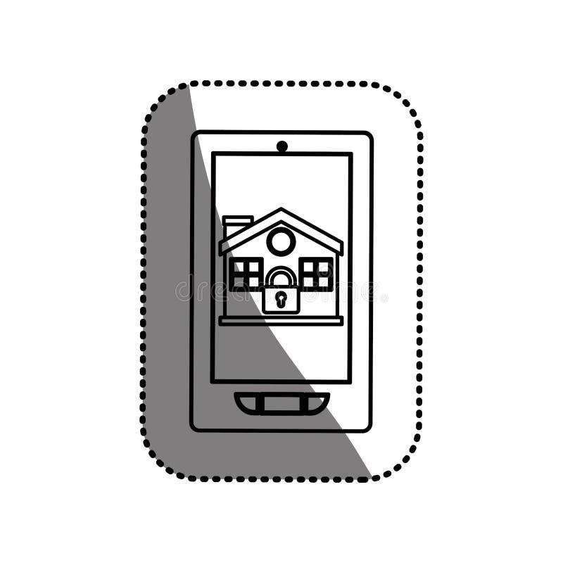 Geïsoleerd huis en hangslot binnen smartphoneontwerp royalty-vrije illustratie