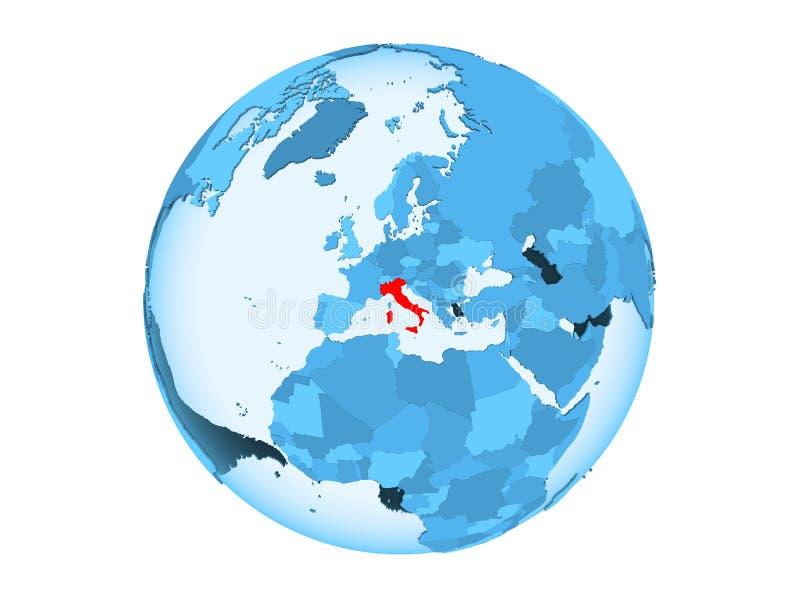 Geïsoleerd Italië op blauwe bol royalty-vrije illustratie