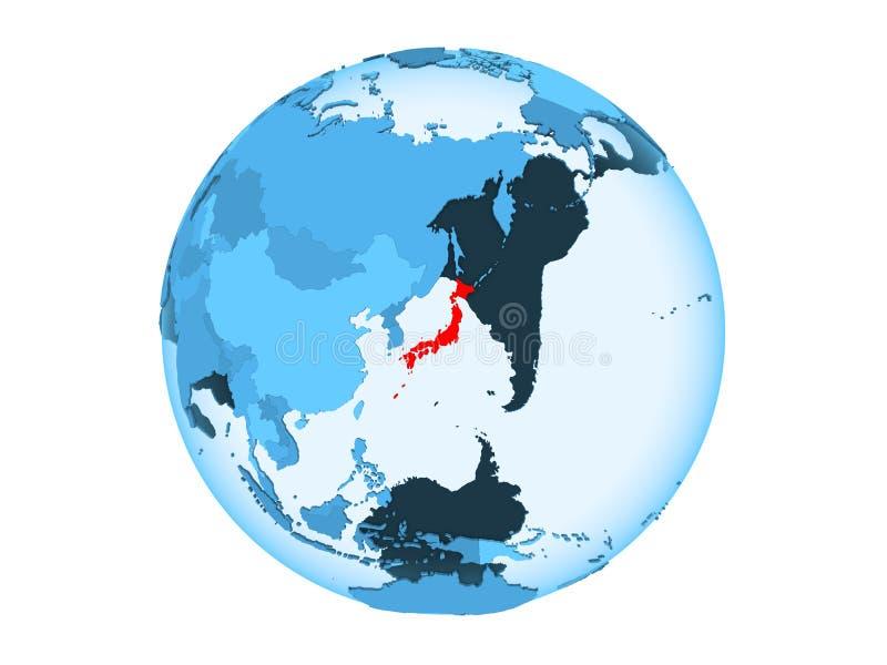 Geïsoleerd Japan op blauwe bol vector illustratie