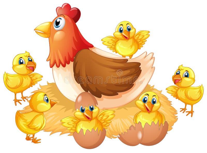 Geïsoleerd kip en kuiken royalty-vrije illustratie