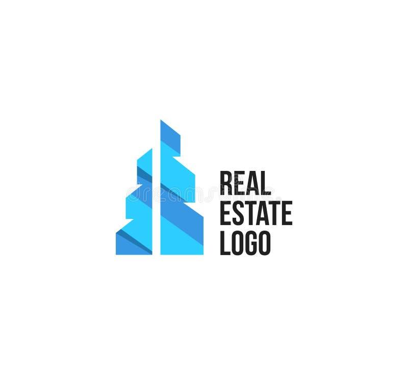 Geïsoleerd kleurrijk makelaardijembleem, huis logotype op wit, het pictogram van het huisconcept, wolkenkrabber vectorillustratie royalty-vrije illustratie