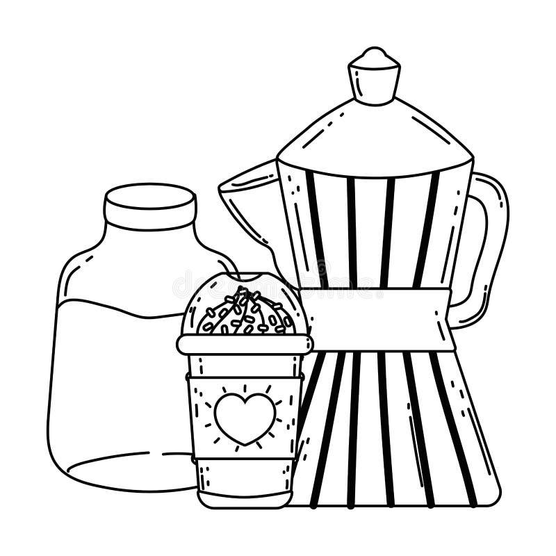 Geïsoleerd koffiezetapparaat en mok vectorontwerp royalty-vrije illustratie