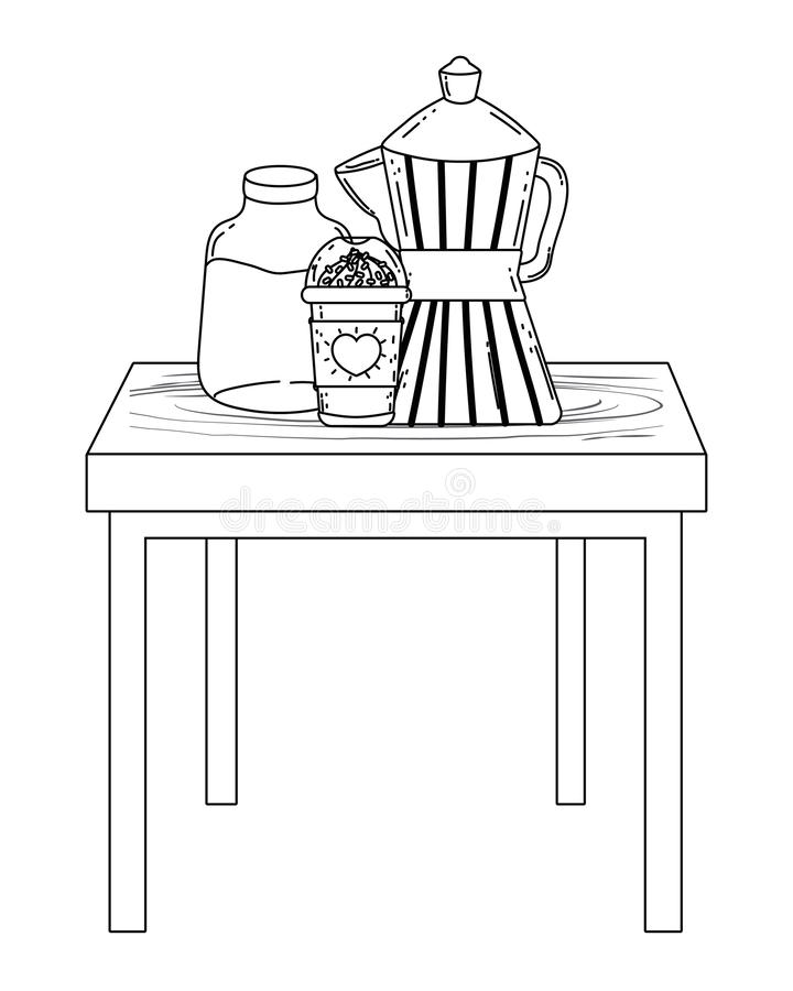 Geïsoleerd koffiezetapparaat en mok vectorontwerp stock illustratie
