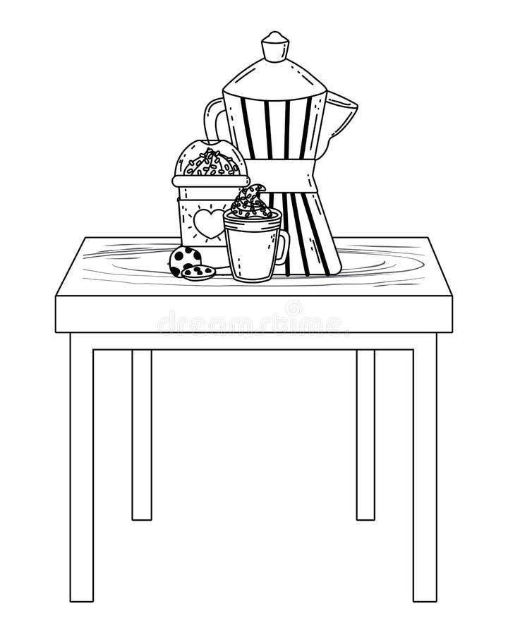 Geïsoleerd koffiezetapparaat en mok vectorontwerp vector illustratie
