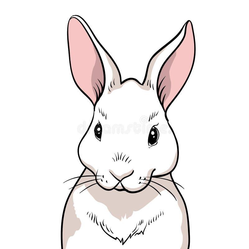 Geïsoleerd konijnportret De hand getrokken illustraties van het stijlontwerp stock illustratie