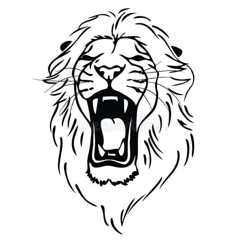 Geïsoleerd= leeuwhoofd als symbool, teken, embleem royalty-vrije illustratie