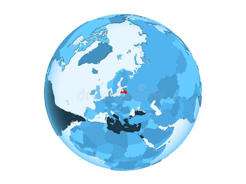 Geïsoleerd Letland op blauwe bol royalty-vrije illustratie