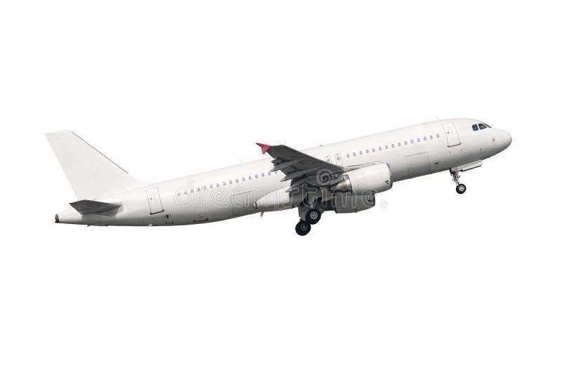 Geïsoleerd luchtbusa320-200 zuiver wit lichaam stock afbeelding