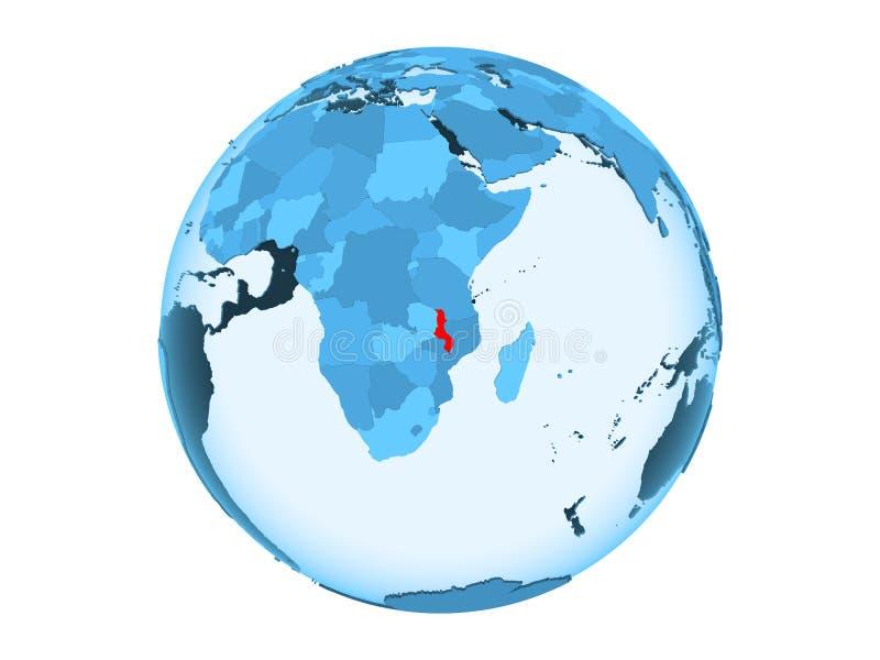 Geïsoleerd Malawi op blauwe bol royalty-vrije illustratie