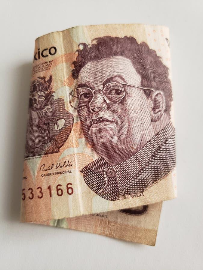 geïsoleerd Mexicaans bankbiljet van 500 peso's, achtergrond en textuur royalty-vrije stock afbeeldingen