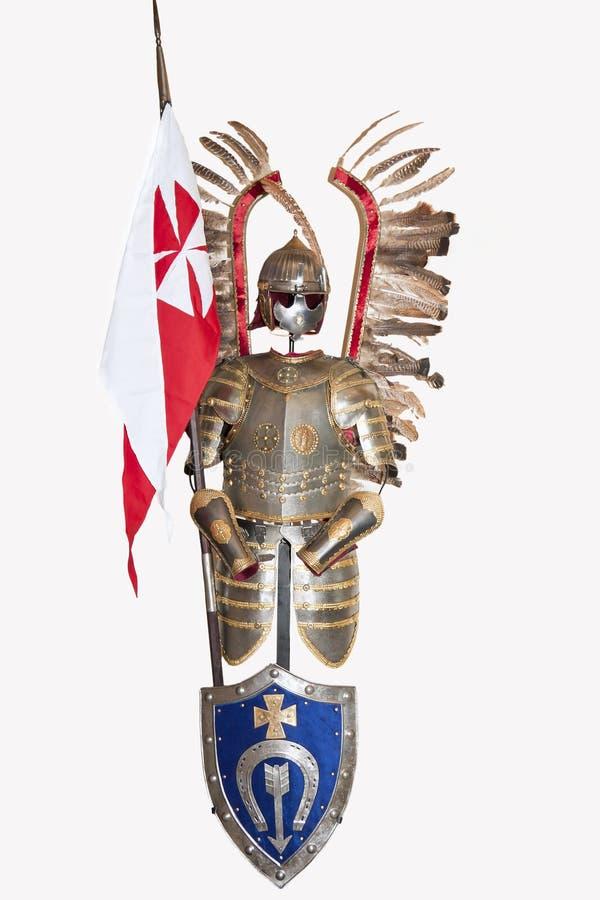 Geïsoleerd middeleeuws pantser. stock fotografie