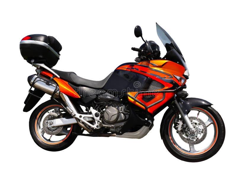 Geïsoleerd motorfiets zijaanzicht stock foto