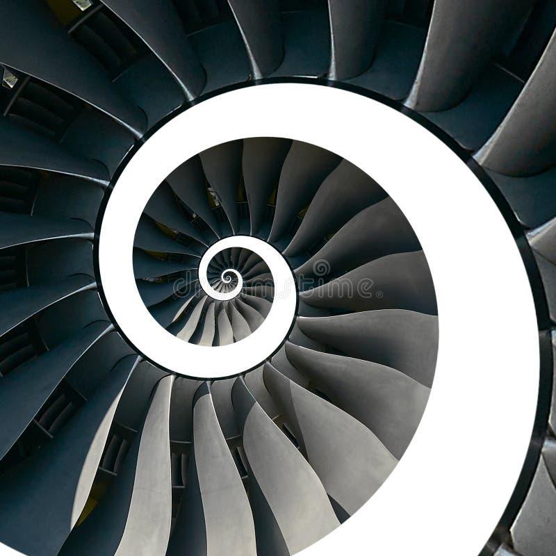 Geïsoleerd op witte de vleugels spiraalvormige effect van turbinebladen abstracte fractal patroonachtergrond Spiraalvormige indus royalty-vrije stock afbeelding