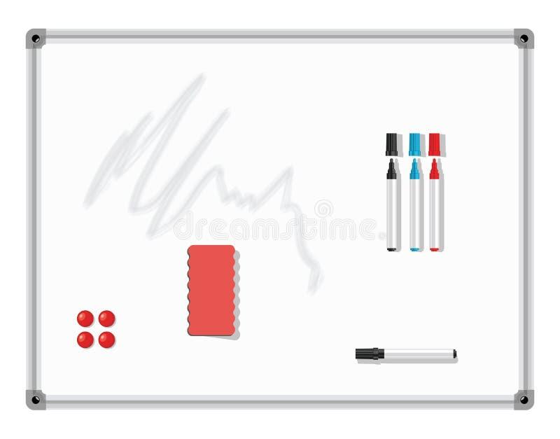 Geïsoleerd op witte illustratie Witte raad met gekleurde makers en gom Vecto royalty-vrije illustratie